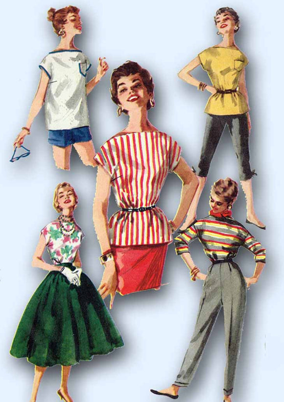 1950s Vintage Simplicity Sewing Pattern 1088 Easy Uncut Misses Blouse Size 12