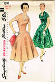 1950s Vintage Simplicity Sewing Pattern 1091 Misses Drop Waist Dress Size 16 FF