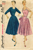 1950s Vintage Simplicity Sewing Pattern 1092 Misses Cocktail Dress Size 12 30B