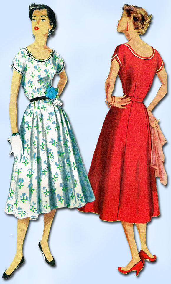 1950s Vintage Simplicity Sewing Pattern 1096 Misses Dress Size 16 1/2 Uncut!
