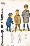 1940s Vintage Simplicity Sewing Pattern 1098 Toddler Boys Coat & Hat Size 4 23B