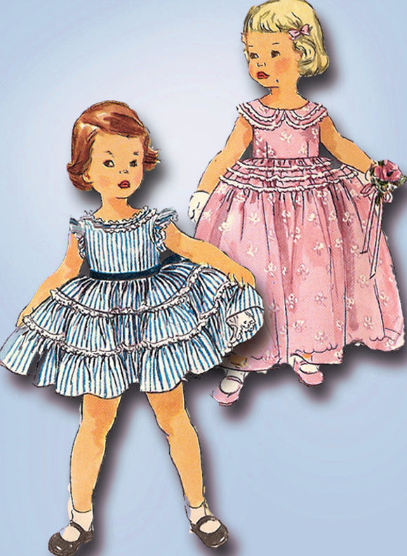 1950s Vintage Toddler Girls Dress Uncut 1955 Simplicity Sewing Pattern 1109 Sz 4