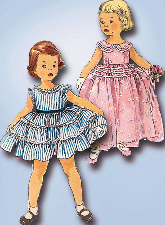 1950s Vintage Simplicity Sewing Pattern 1109 FF Toddler Girls Party Dress Sz 3