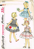 1950s Vintage Toddler Girls Dress Uncut 1955 Simplicity Sewing Pattern 1111 Sz 4