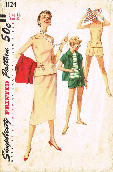 1950s Vintage Simplicity Sewing Pattern 1124 Misses Summer Wardrobe Size 14 32B