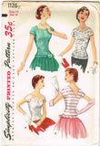 1950s Vintage Simplicity Sewing Pattern 1126 Uncut Misses Evening Blouse Size 14