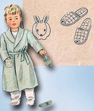 1940s Vintage Simplicity Sewing Pattern 1126 WWII Toddlers Robe & Slippers Sz 6