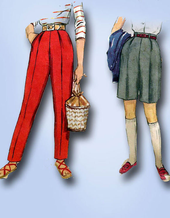 1950s Vintage Simplicity Pattern 1128 Uncut Little Girls Slacks & Shorts Sz 8