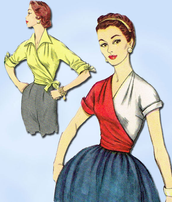 1950s Original Vintage Simplicity Pattern 1129 Misses Wrap Around Blouse Sz 32 Bust