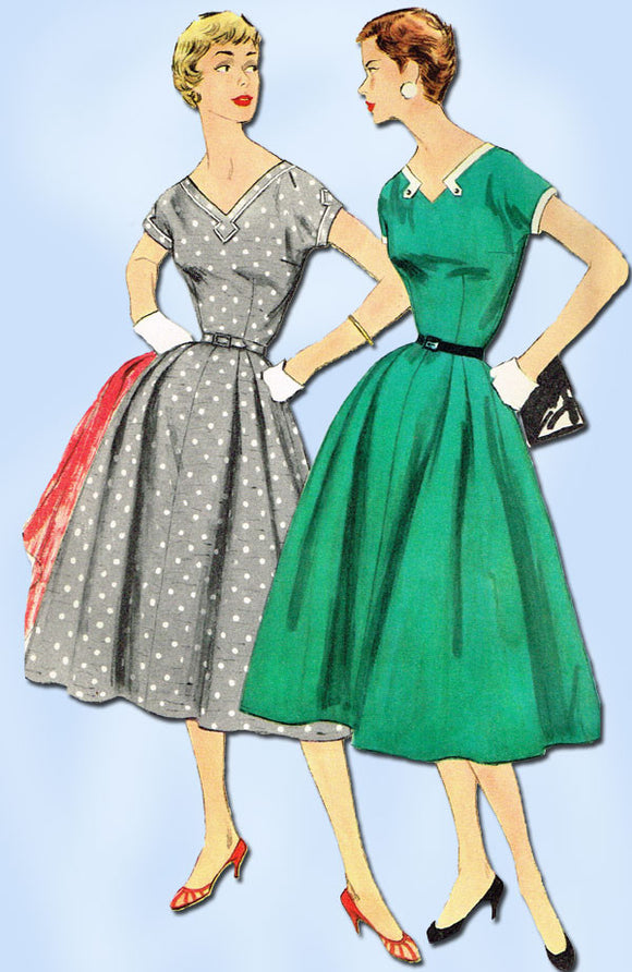 1950s Vintage Simplicity Sewing Pattern 1135 Uncut Misses Day Dress 34 B