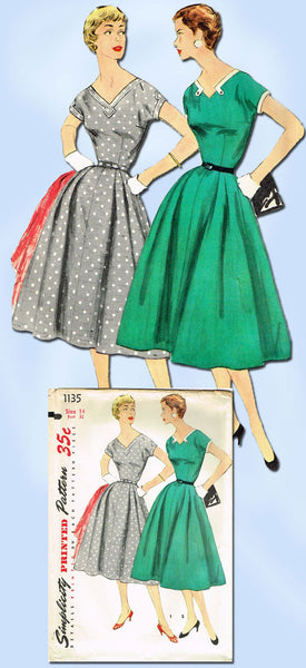 1950s Vintage Simplicity Sewing Pattern 1135 Uncut Misses' Day Dress Size 14 32B