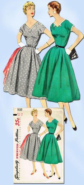 1950s Vintage Misses Dress Uncut 1955 Simplicity Sewing Pattern 1135 Sz 16 34B