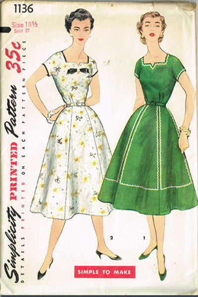 1950s Vintage Simplicity Sewing Pattern 1136 Uncut Misses' Street Dress Size 37B
