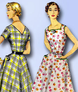 1950s Vintage Simplicity Sewing Pattern 1139 Uncut Misses' Day Dress Size 18.5