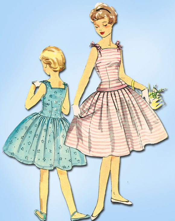 1950s Vintage Simplicity Sewing Pattern 1145 Little Girls Party Dress Size 10