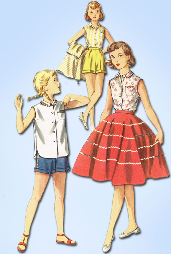 1950s Vintage Simplicity Sewing Pattern 1146 Girls Skirt Blouse Shorts Size 7