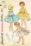 1950s Vintage Simplicity Sewing Pattern 1149 Baby Girls Dress & Topper Size 2
