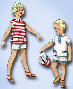 1950s Original Vintage Simplicity Pattern 1150 Toddler Boys Shirt & Shorts Sz 1