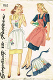 1940s Vintage Simplicity Sewing Pattern 1162 WWII Misses Full or Half Apron SM