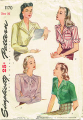 1940s Vintage Simplicity Sewing Pattern 1170 Misses WWII Blouse Set Size 36 Bust