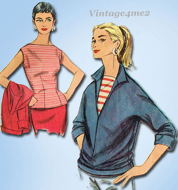 simplicity 1172: 1950s Cute Misses Pullover & Blouse 30B Vintage Sewing Pattern