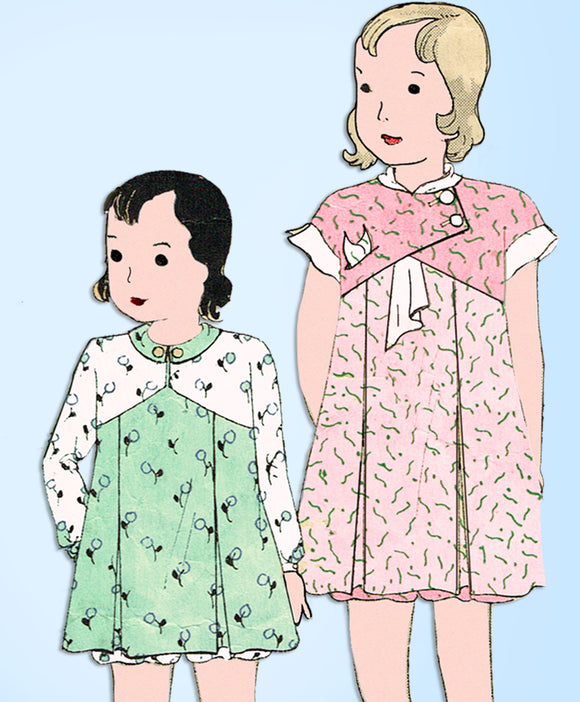 1930s Vintage Simplicity Sewing Pattern 1193 Toddler Girls Bloomer Dress Size 6 - Vintage4me2