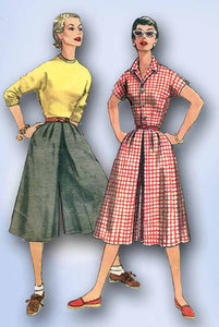 1950s Vintage Simplicity Sewing Pattern 1209 Uncut Misses Culotte Dress Size 14