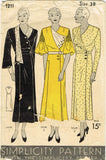 Simplicity 1211: 1930s Stunning Womens Dress Size 38 Bust Vintage Sewing Pattern