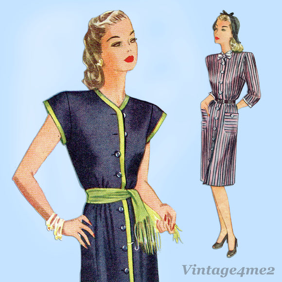 Simplicity 1214: 1940s Misses Simple WWII Dress Size 38 B Vintage Sewing Pattern