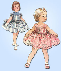 1950s Vintage Simplicity Pattern 1220 Toddler Girls Tucked Dress Size 2