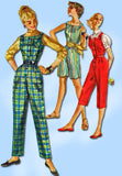 1950s Vintage Simplicity Sewing Pattern 1242 FF Misses Overalls or Coveralls 32B