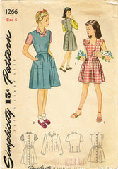 1940s Original Vintage Simplicity Pattern 1266 WWII Toddler Girls Dress Size 6