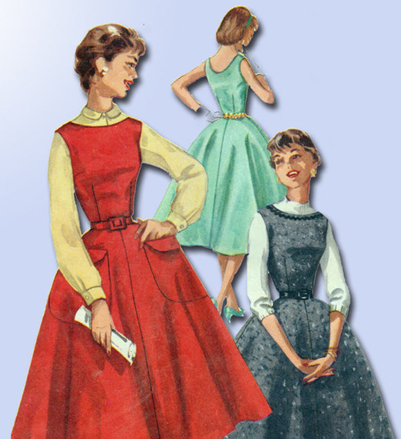1950s Misses Simplicity Sewing Pattern 1270 Easy Misses Jumper Dress Sz 12 30B