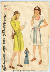 1940s Original Vintage Simplicity Pattern 1271 Uncut WWII Embroidered Dress 30 B