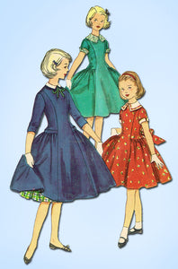 1950s Vintage Simplicity Sewing Pattern 1256 Uncut Little Girls Party Dress Sz 8