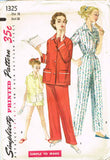 1950s Vintage Simplicity Sewing Pattern 1325 Easy Uncut Misses 2 PC Pajamas 33 B