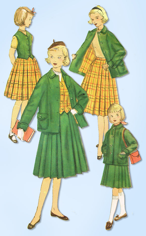 1950s Original Vintage Simplicity Pattern 1326 Uncut Little Girls Suit Size 10