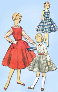 1950s Vintage Simplicity Sewing Pattern 1330 FF Girls Jumper Dress Blouse Sz 14