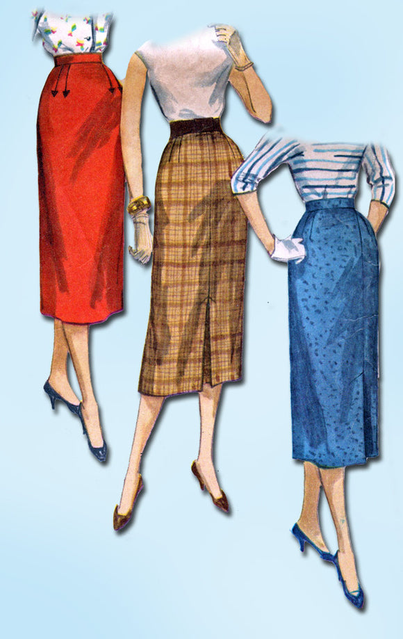 1950s Vintage Simplicity Sewing Pattern 1345 Easy Misses Pencil Skirt Sz 26 W - Vintage4me2