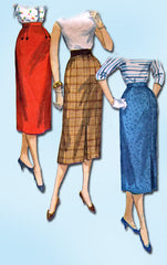 1950s Misses Simplicity Sewing Pattern 1345 Simple Misses Pencil Skirt Sz 26 W