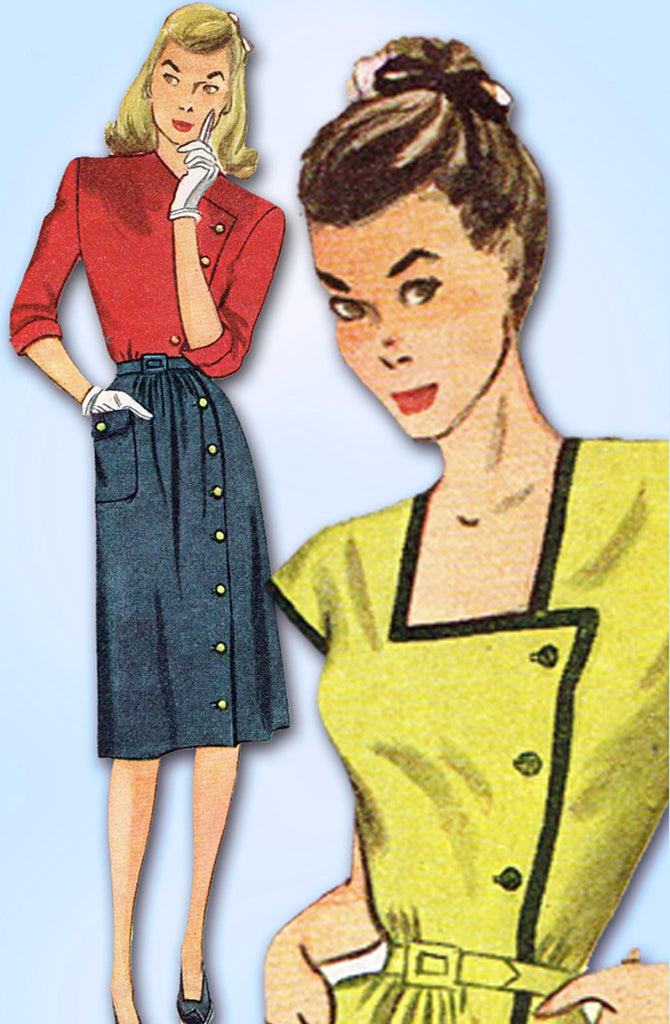 1940s Original Vintage Simplicity Sewing Pattern 1347 Misses WWII Dress Sz 34 B