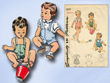1940s Vintage Simplicity Sewing Pattern 1373 Toddler Boys Romper or Suit Sz 6 mo