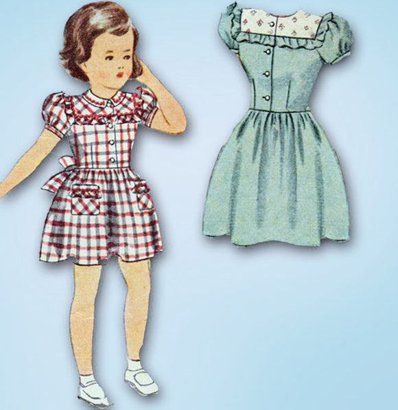 1940s Vintage Simplicity Sewing Pattern 1394 Cute Toddler Girls WWII Dress Sz 6