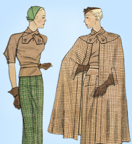 1930s Vintage Simplicity Sewing Pattern 1399 Uncut Misses Suit and Cape Sz 36 B