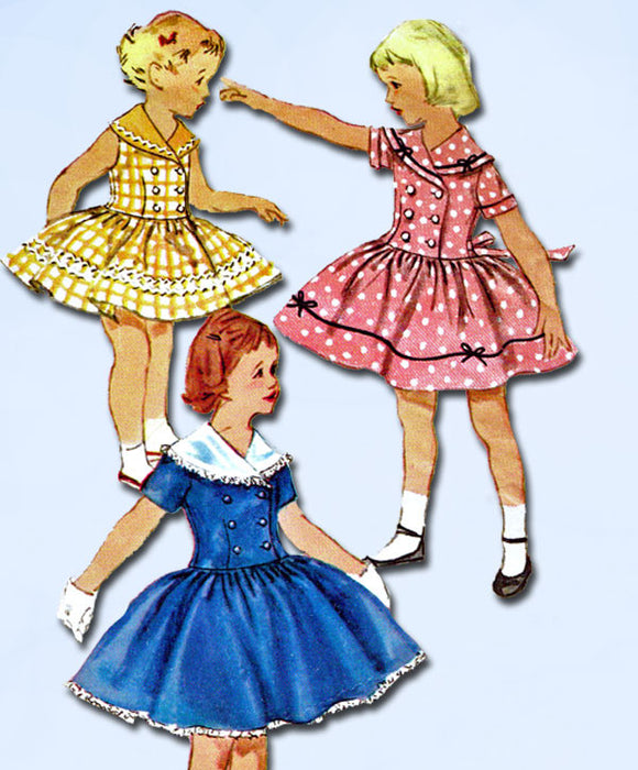 1950s Vintage 1955 Simplicity Sewing Pattern 1401 Toddler Girls Dress Size 6