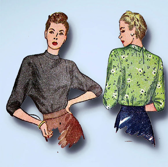 1940s Vintage Simplicity Sewing Pattern 1403 Charming Misses WWII Blouse Sz 32 B - Vintage4me2