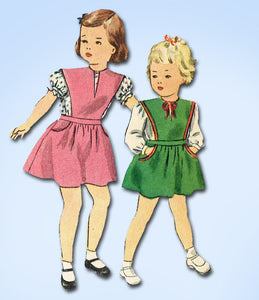 1940s Vintage Simplicity Sewing Pattern 1415 WWII Toddler Girls Jumper Dress Sz2