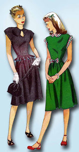 1940s Vintage Simplicity Sewing Pattern 1435 Uncut Misses Keyhole Dress Size 12