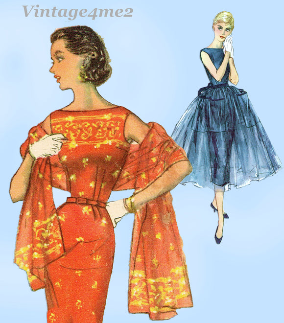 Simplicity 1452: 1950s Misses Cocktail Dress w Overskirt 29B Vintage Sewing Pattern