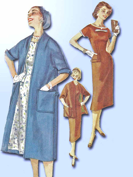 1950s Vintage Simplicity Sewing Pattern 1458 Uncut Misses Dress and Coat Size 14